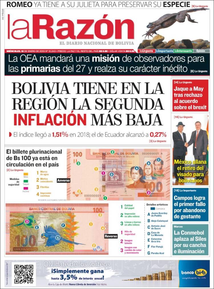Portada de La Razón (Bolivie)