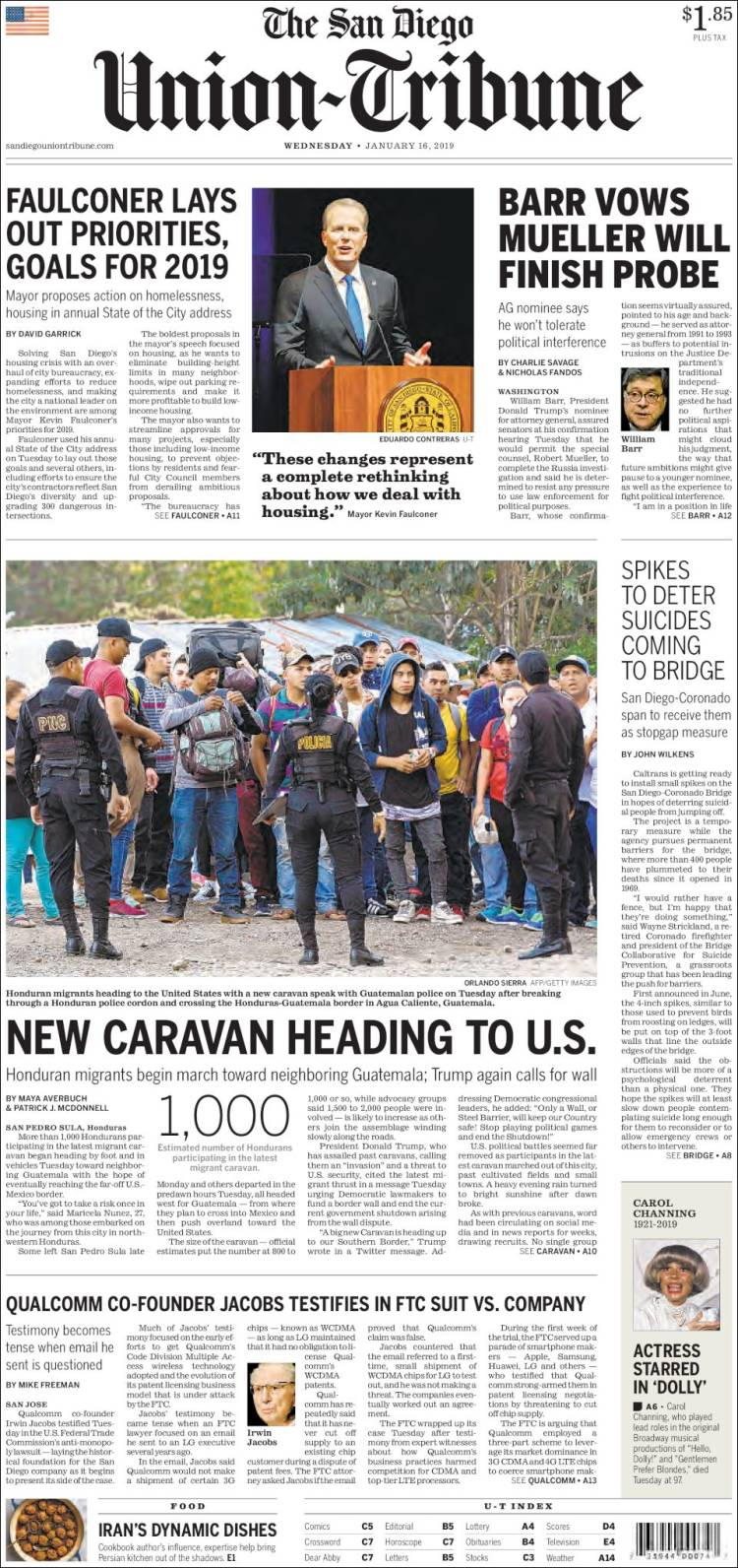 Portada de The San Diego Union-Tribune (États-Unis)