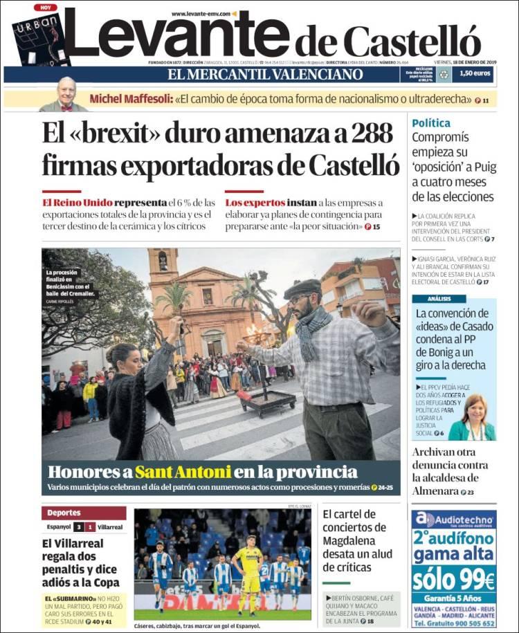 Portada de Levante de Castelló (España)