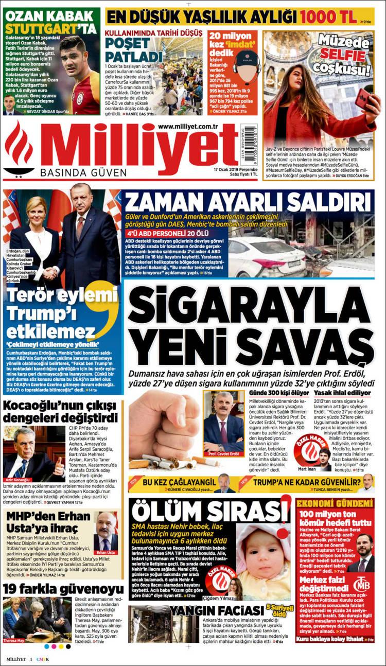 Portada de Milliyet (Turquía)