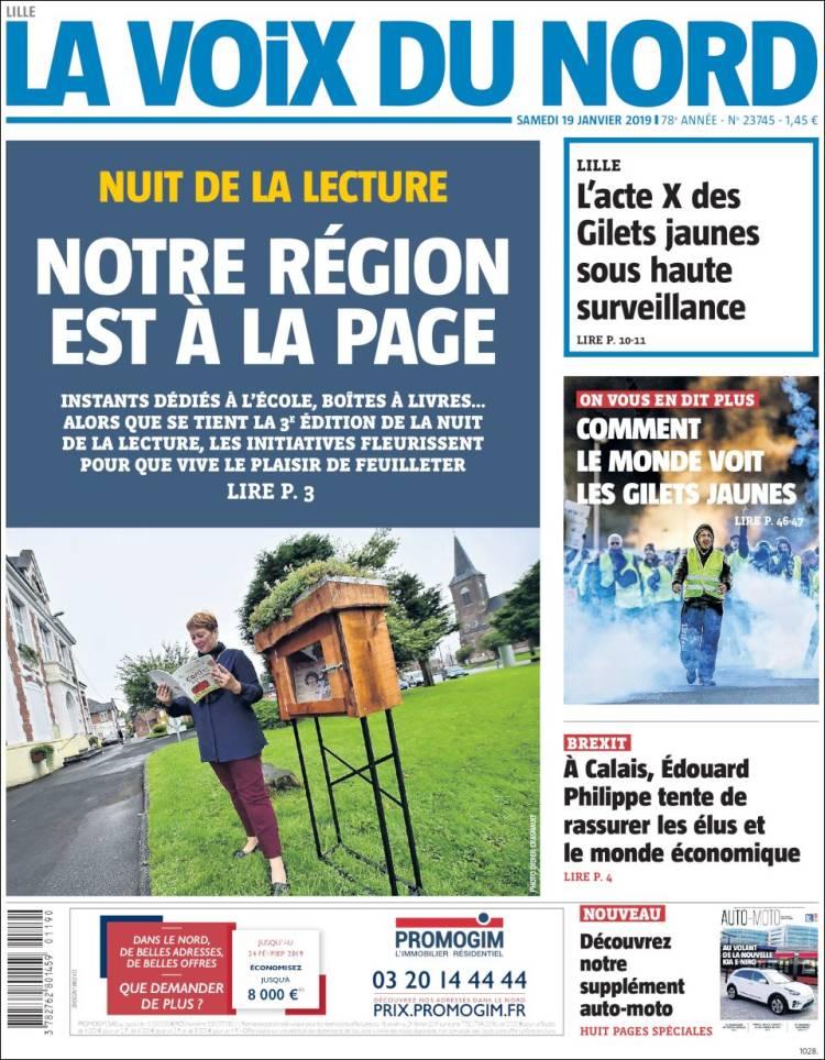 Portada de La Voix du Nord (Francia)