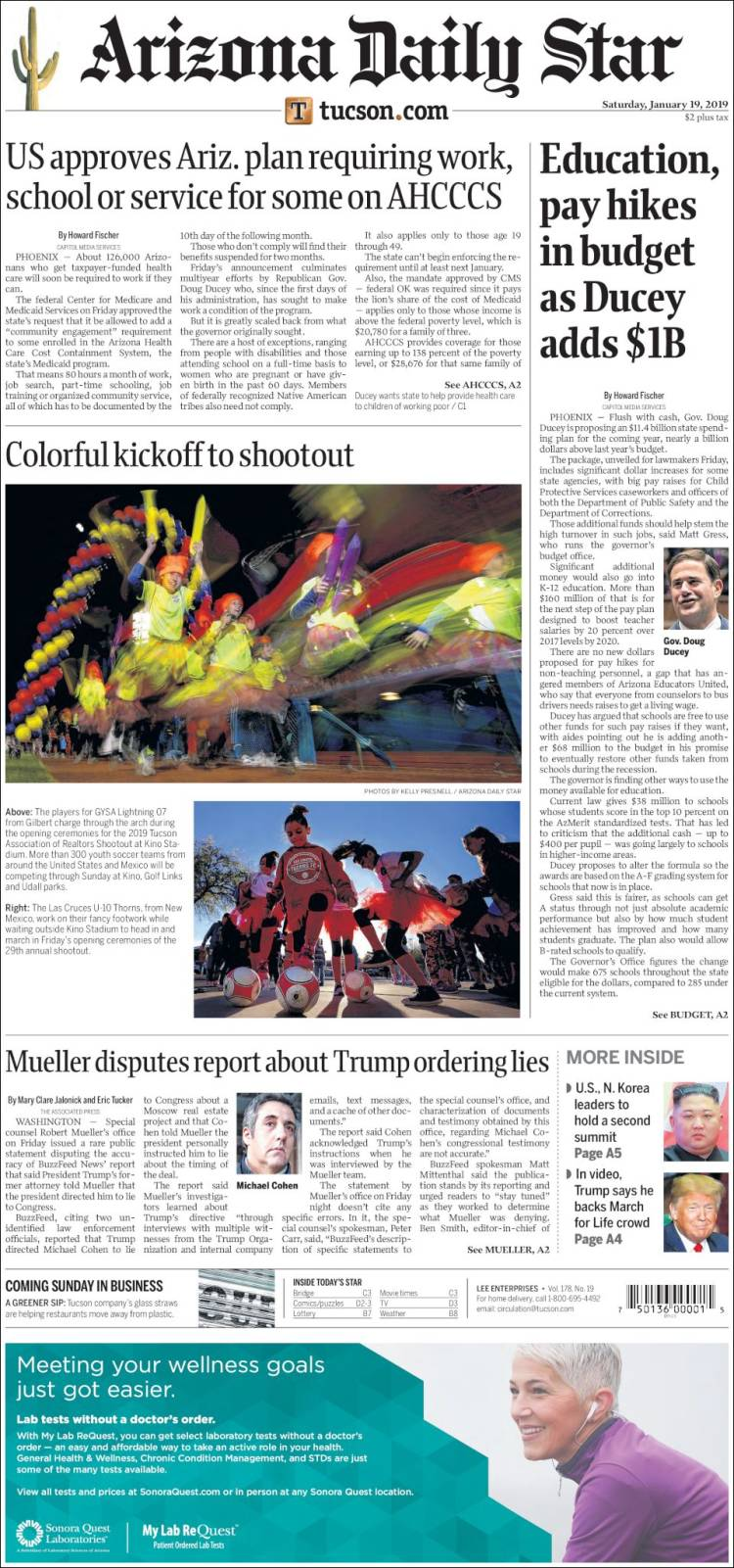 Portada de Arizona Daily Star (USA)