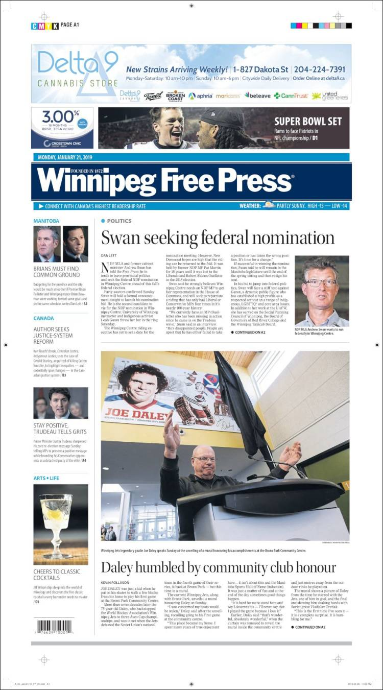Portada de Winnipeg Free Press (Canadá)