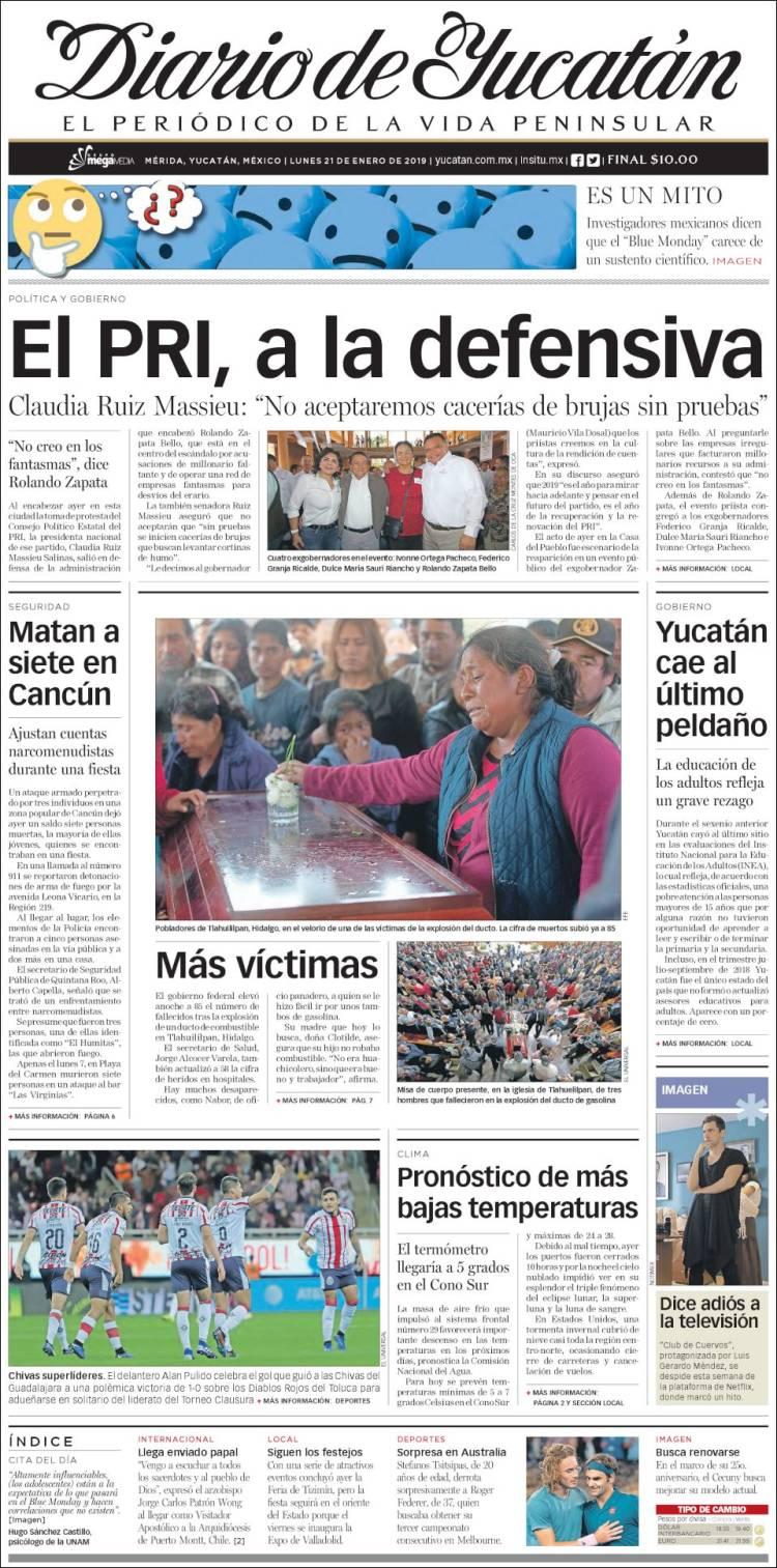 Portada de Diario de Yucatán (México)