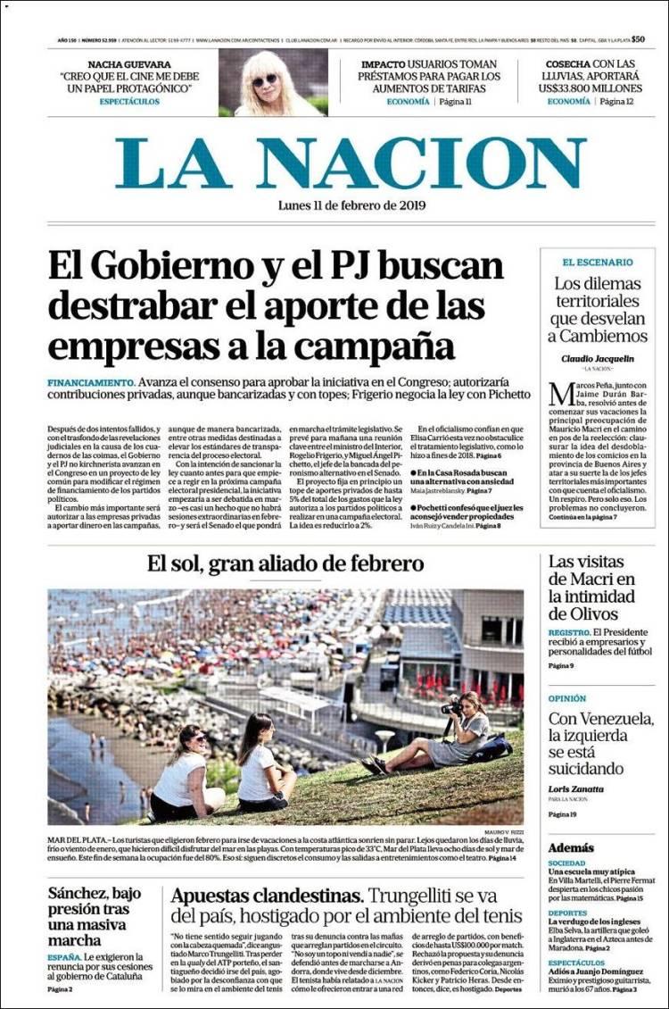 Portada de La Nación (Argentina)
