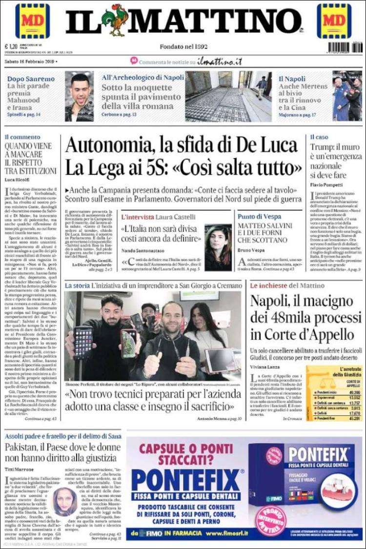 Portada de Il Mattino (Italie)