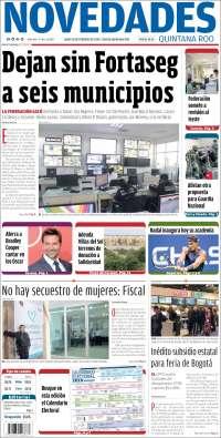 Portada de Novedades de Quintana Roo (Mexico)