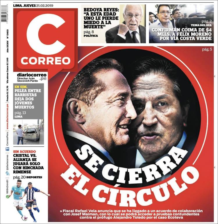 Portada de Diario Correo (Pérou)