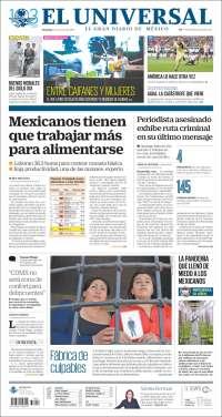 Portada de El Universal (México)