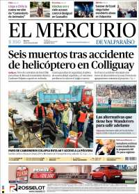 Portada de Mercurio de Valparaiso (Chile)