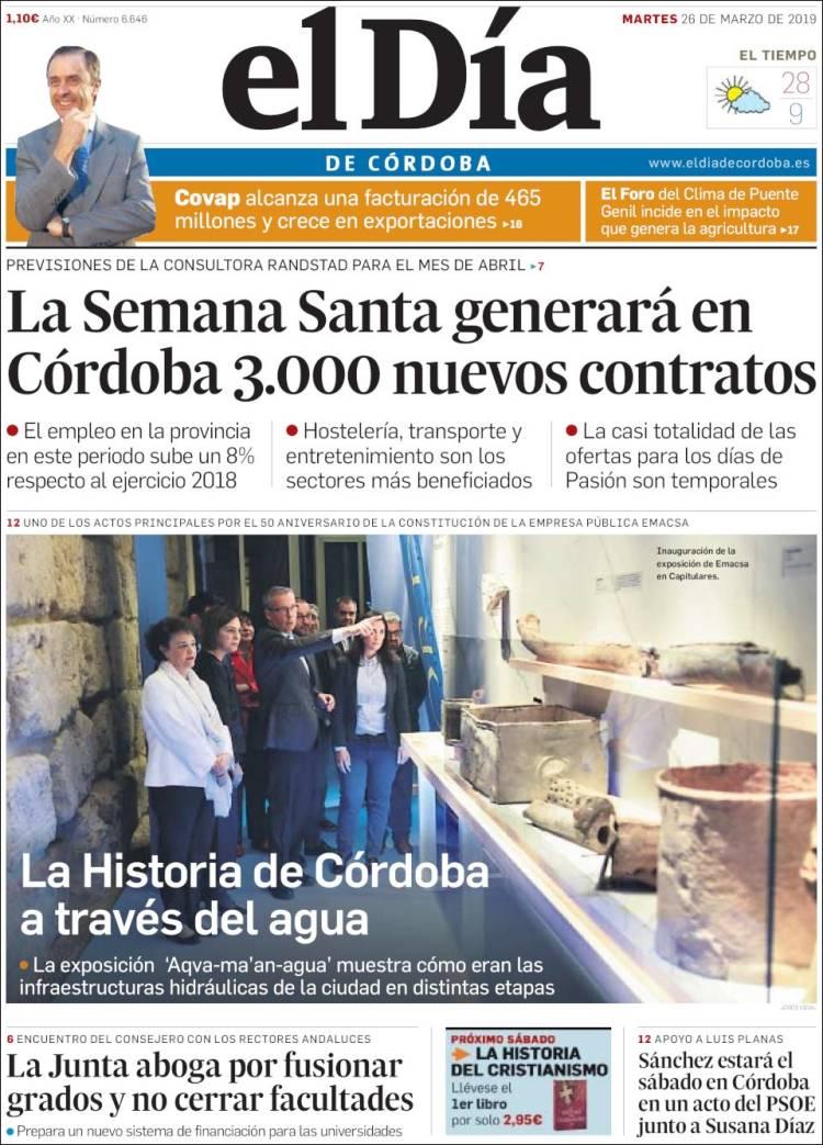 Portada de El Día de Córdoba (España)
