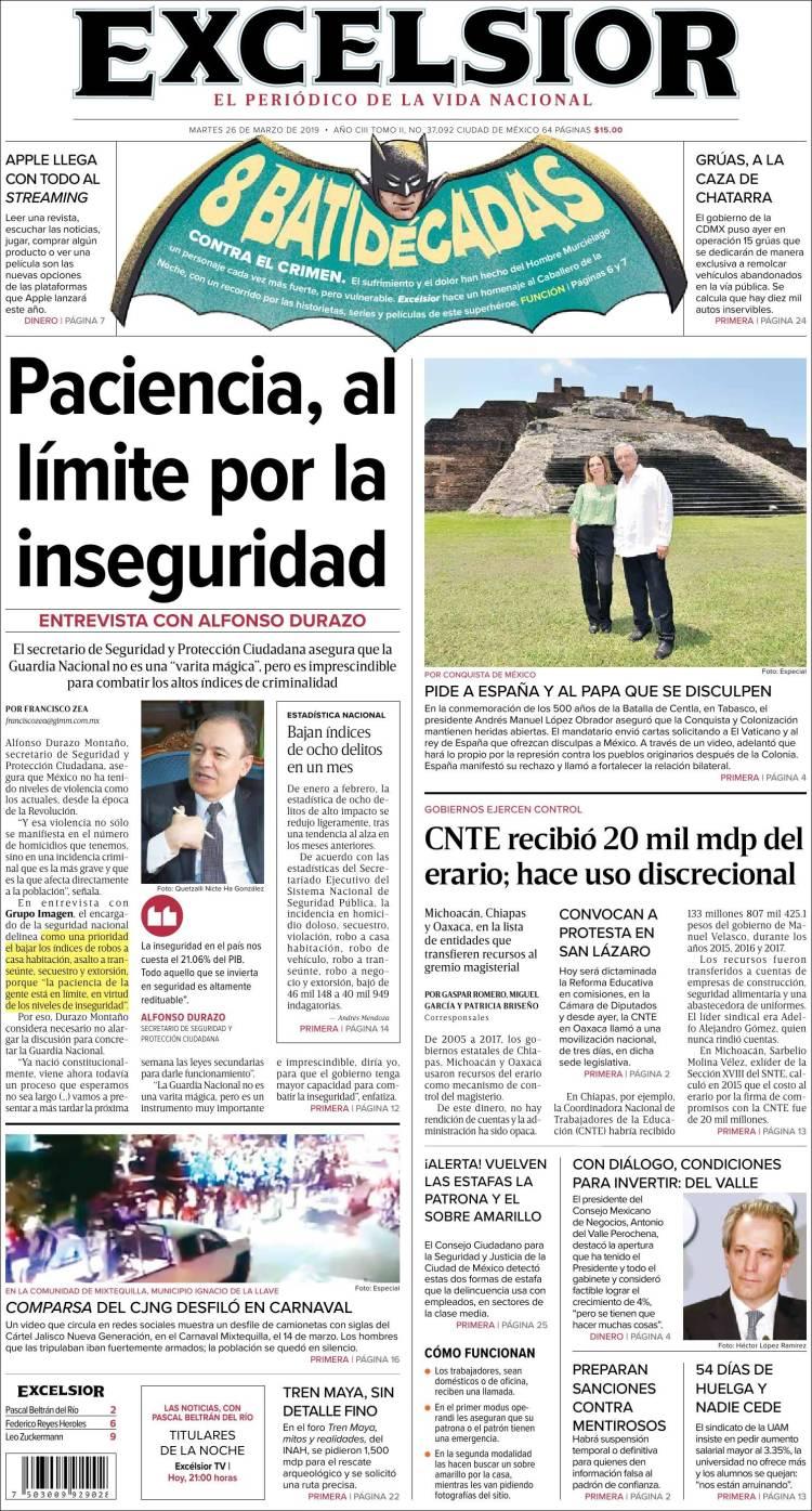 Portada de Excelsior (México)