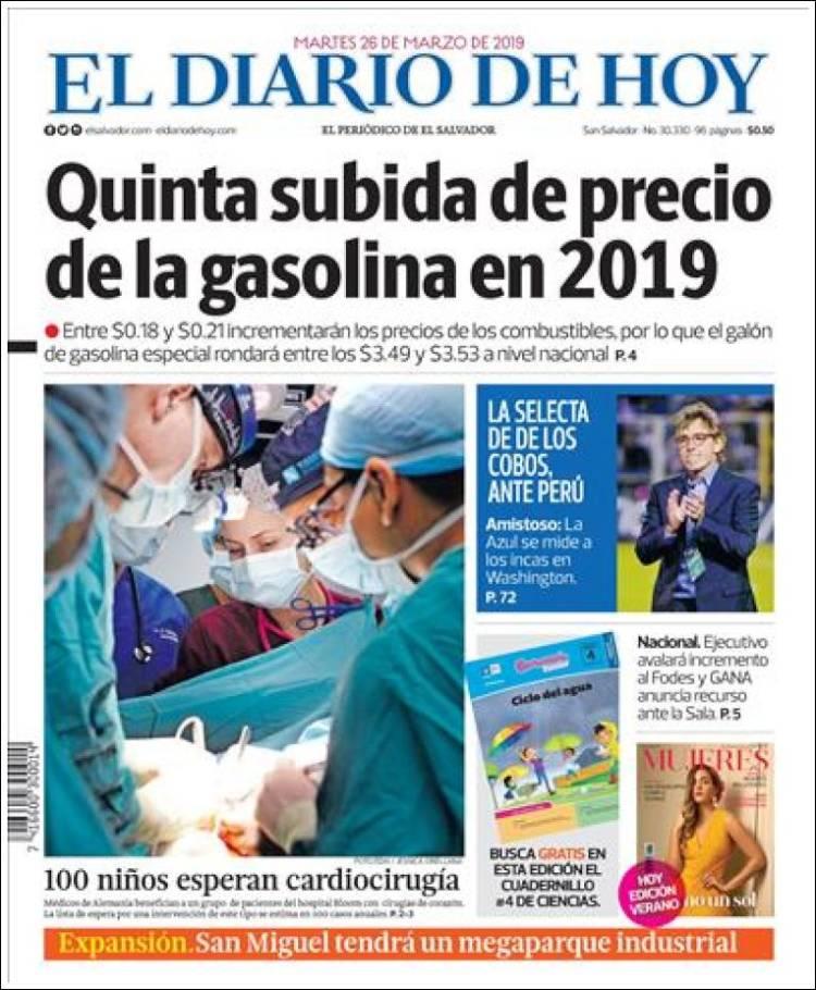 Portada de El Diario de Hoy (El Salvador)