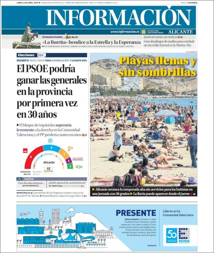 Portada de Diario Información (España)