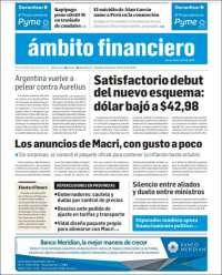 Portada de Diario Ambito Financiero (Argentine)