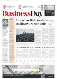 Portada de Business Day (Sudáfrica)