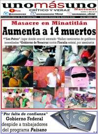 Portada de unomásuno (México)