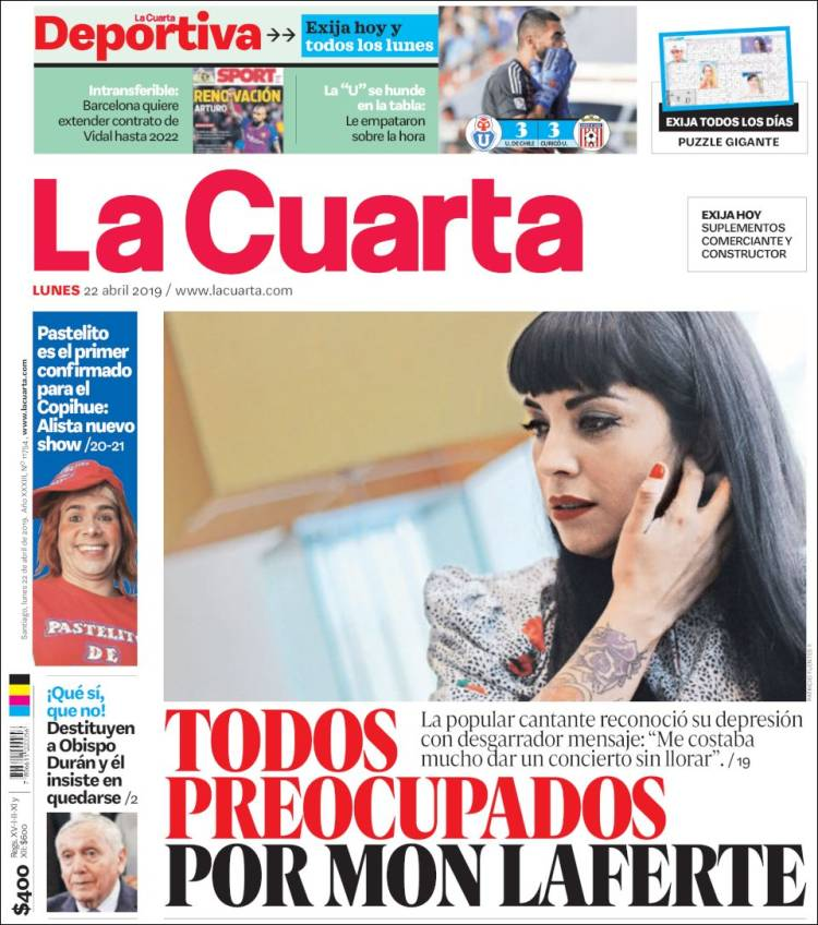 Newspaper La Cuarta (Chile). Newspapers in Chile. Today\'s press ...
