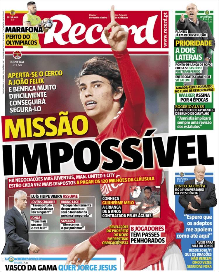 prima pagina record portogallo