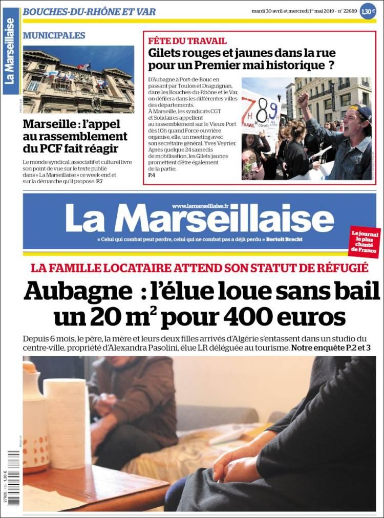 Periódico La Marseillaise Francia Periódicos De Francia