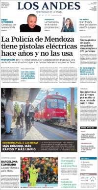 Portada de Los Andes - Mendoza (Argentina)