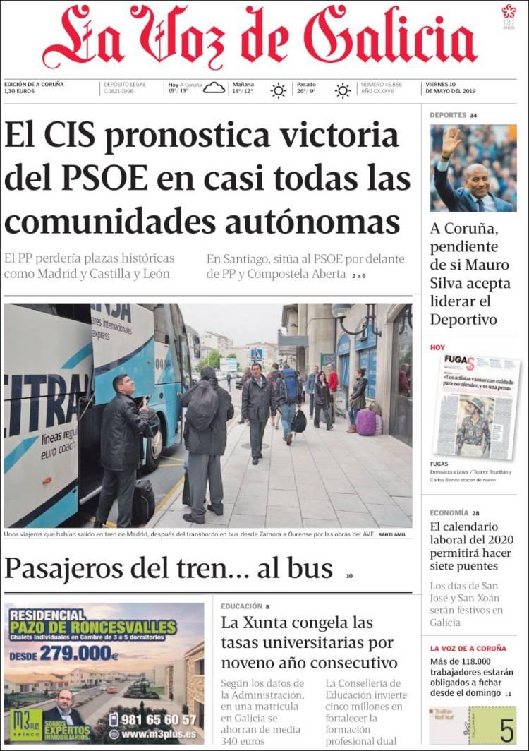 Calendario Laboral A Coruna 2020.Periodico La Voz De Galicia Espana Periodicos De Espana Edicion