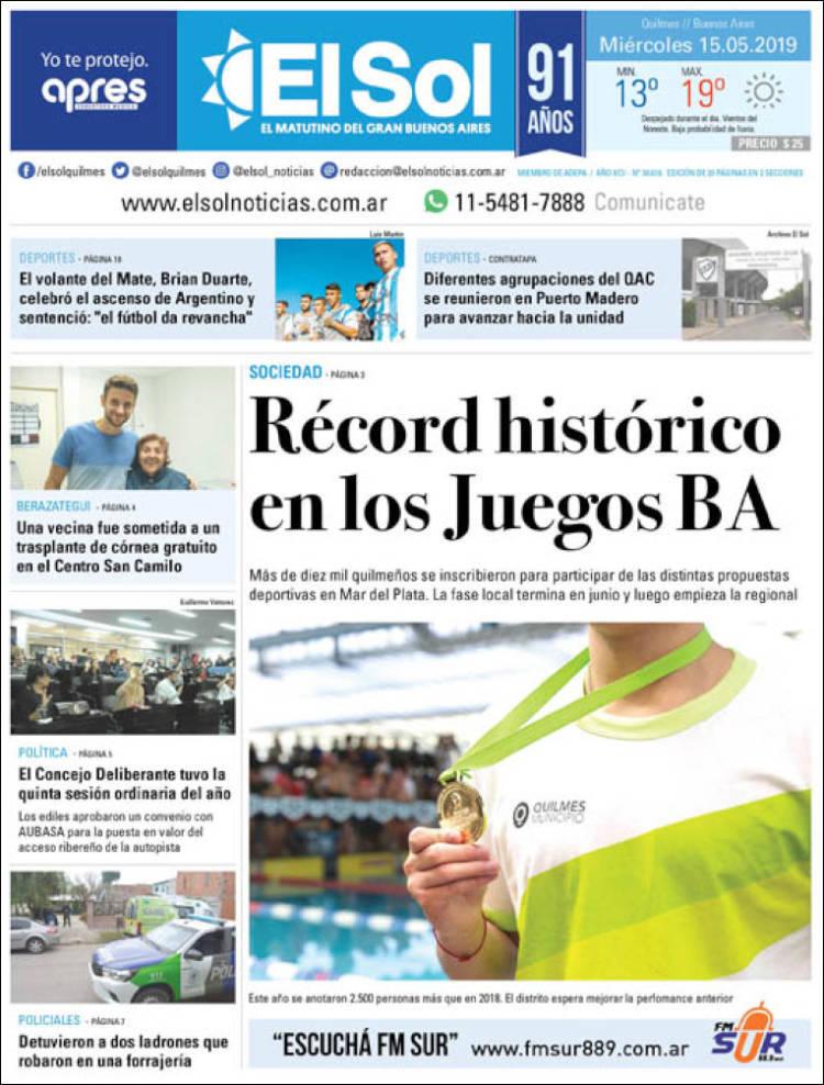 Portada de Diario El Sol (Argentina)