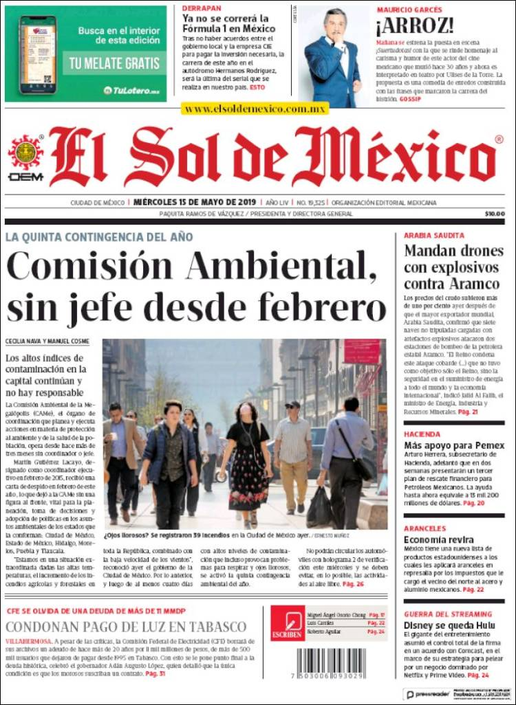 Portada de El Sol de México (México)