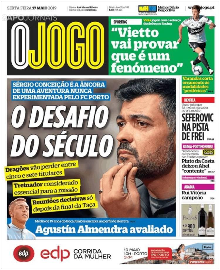 Portada de O Jogo (Portugal)