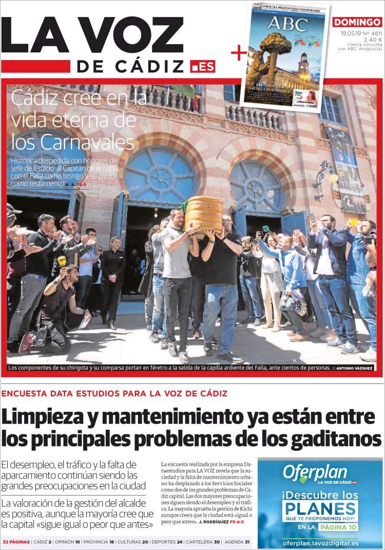 Portada de La Voz de Cádiz (España)