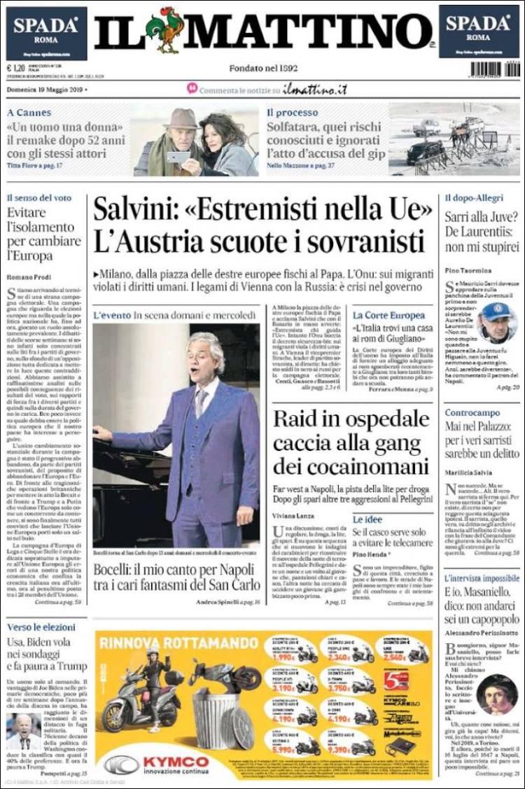 Portada de Il Mattino (Italia)