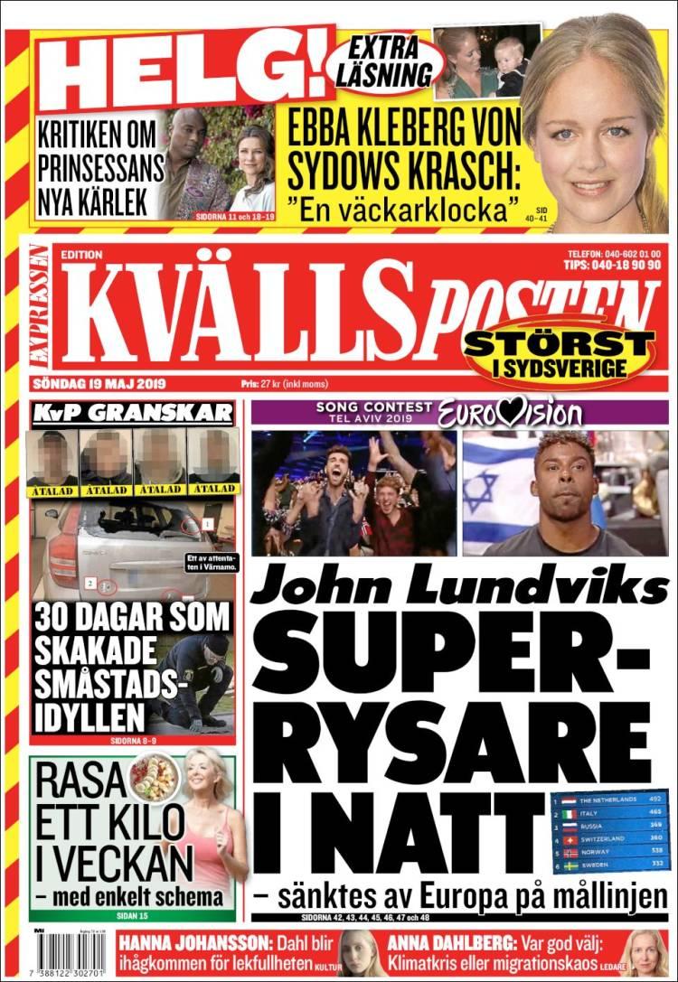 Portada de Kvällsposten (Suecia)