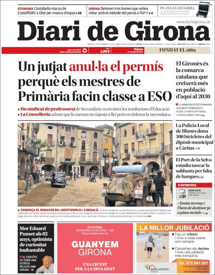 Portada de Diari de Girona (España)