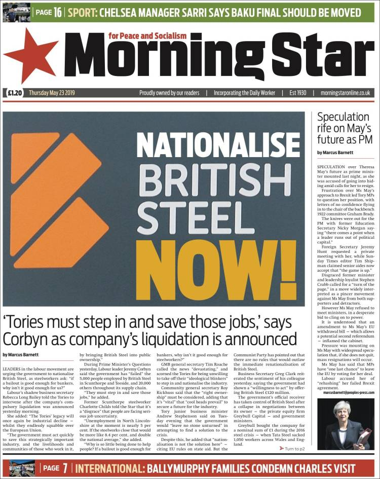 Portada de Morning Star (Royaume-Uni)