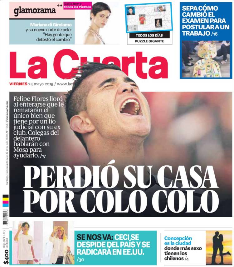 Newspaper La Cuarta (Chile). Newspapers in Chile. Today\'s press ...