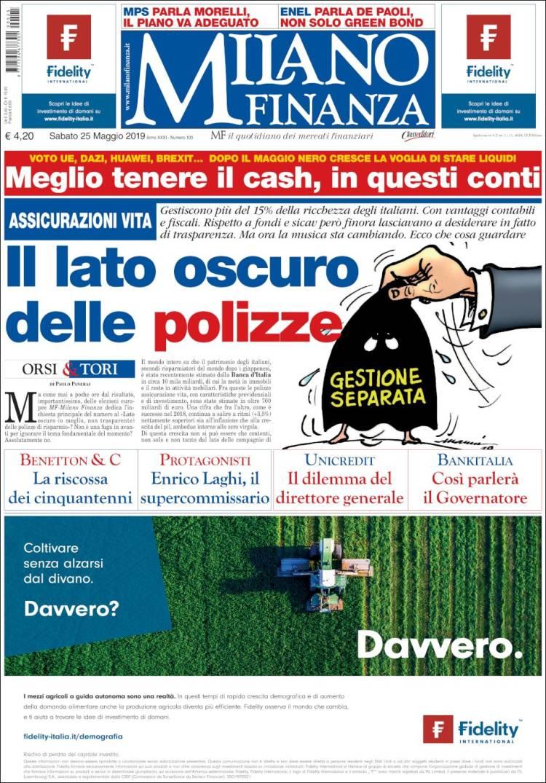 Portada de Milano Finanza (Italie)