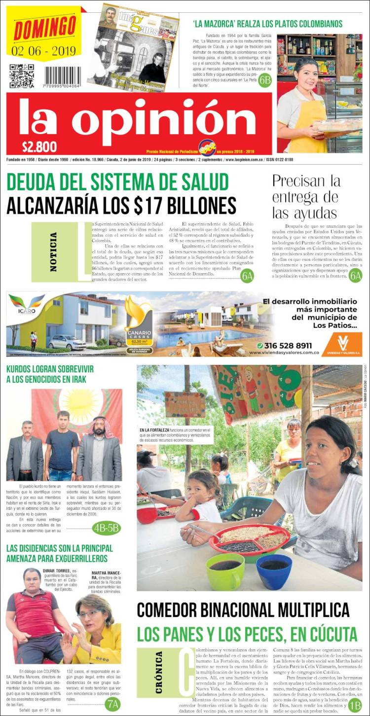 Portada de Diario La Opinion (Colombia)