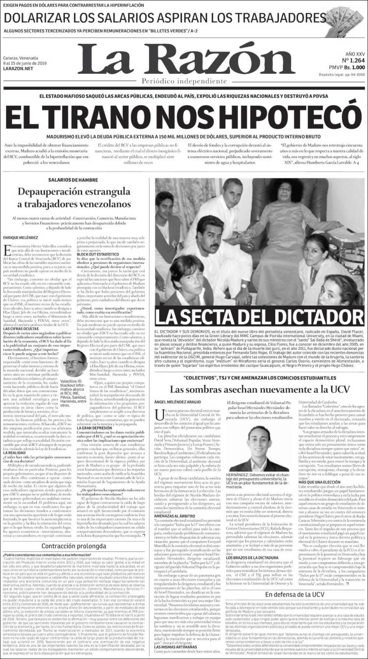Portada de La Razón  (Venezuela)