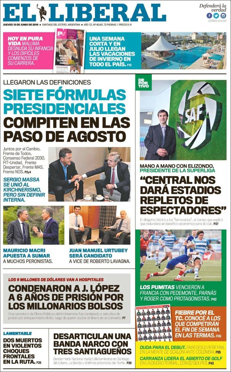 Portada de Diario El Liberal (Argentina)