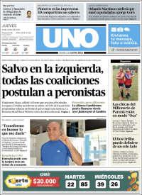 Portada de Diario Uno de Entre Ríos (Argentina)