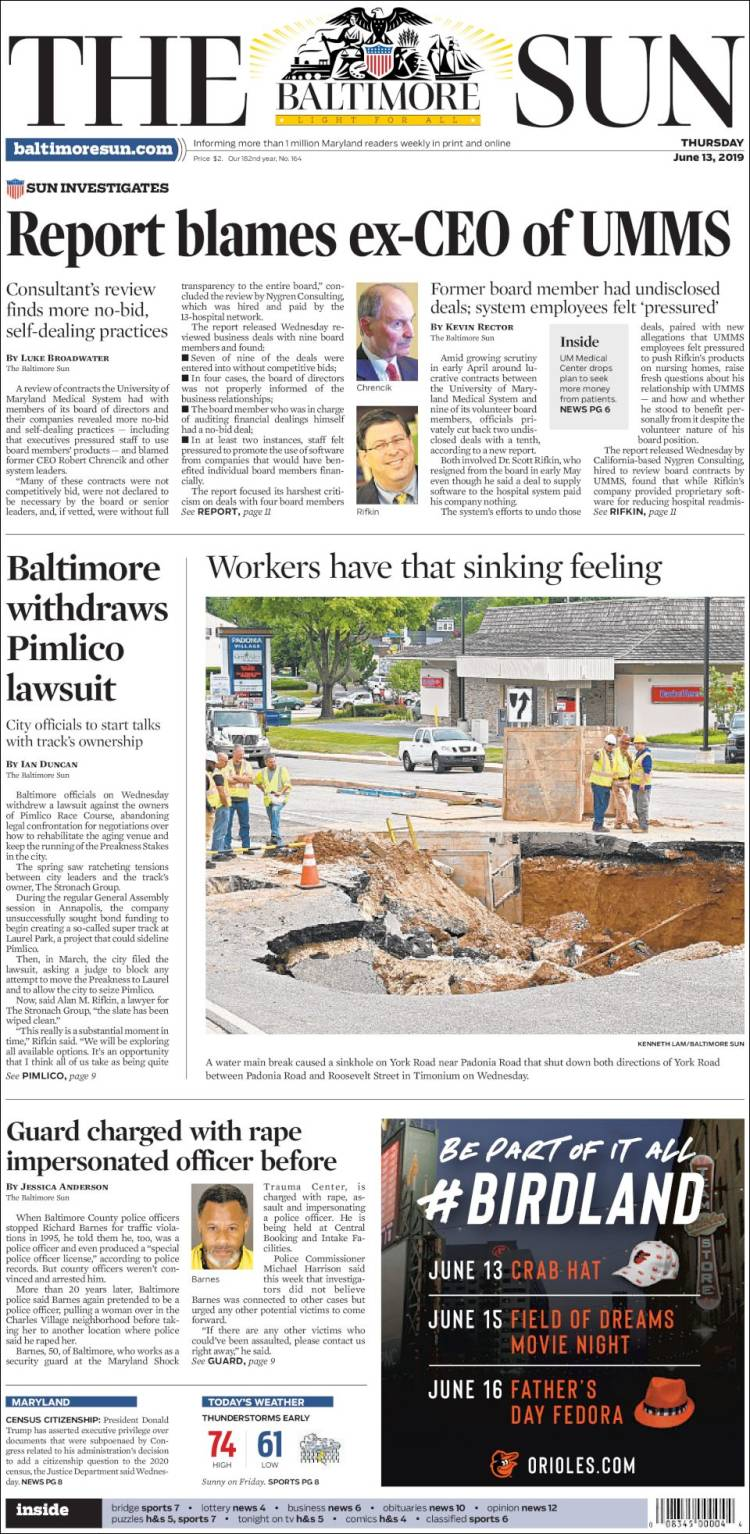 Portada de The Baltimore Sun (USA)