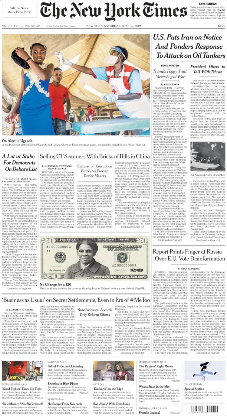 gedetailleerde foto's nieuwe uitstraling retro Newspaper New York Times (USA). Newspapers in USA ...