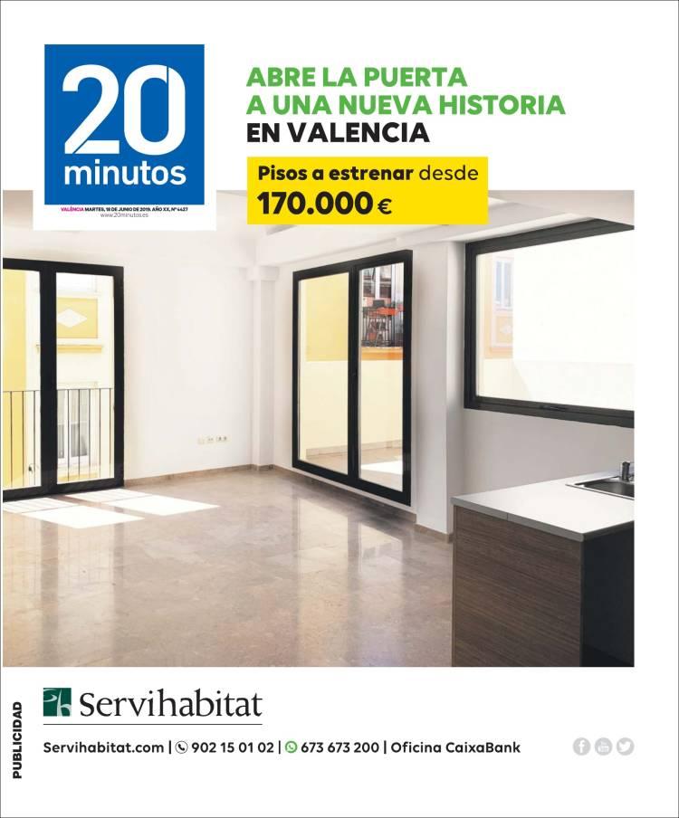 Portada de 20 Minutos - Valencia (España)