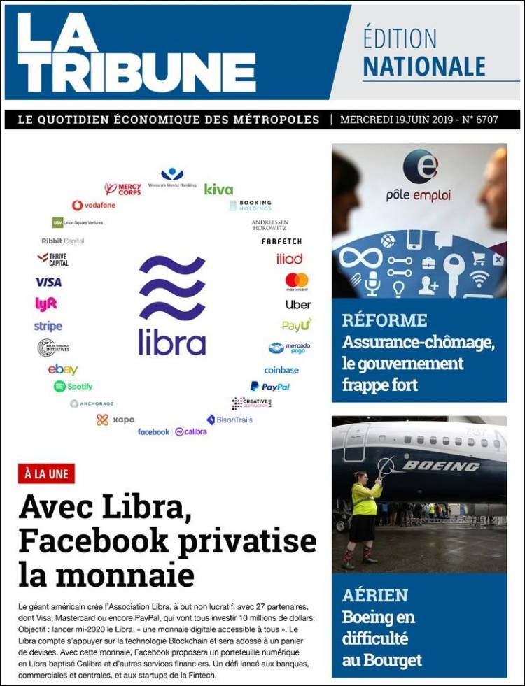 Portada de La Tribune (France)
