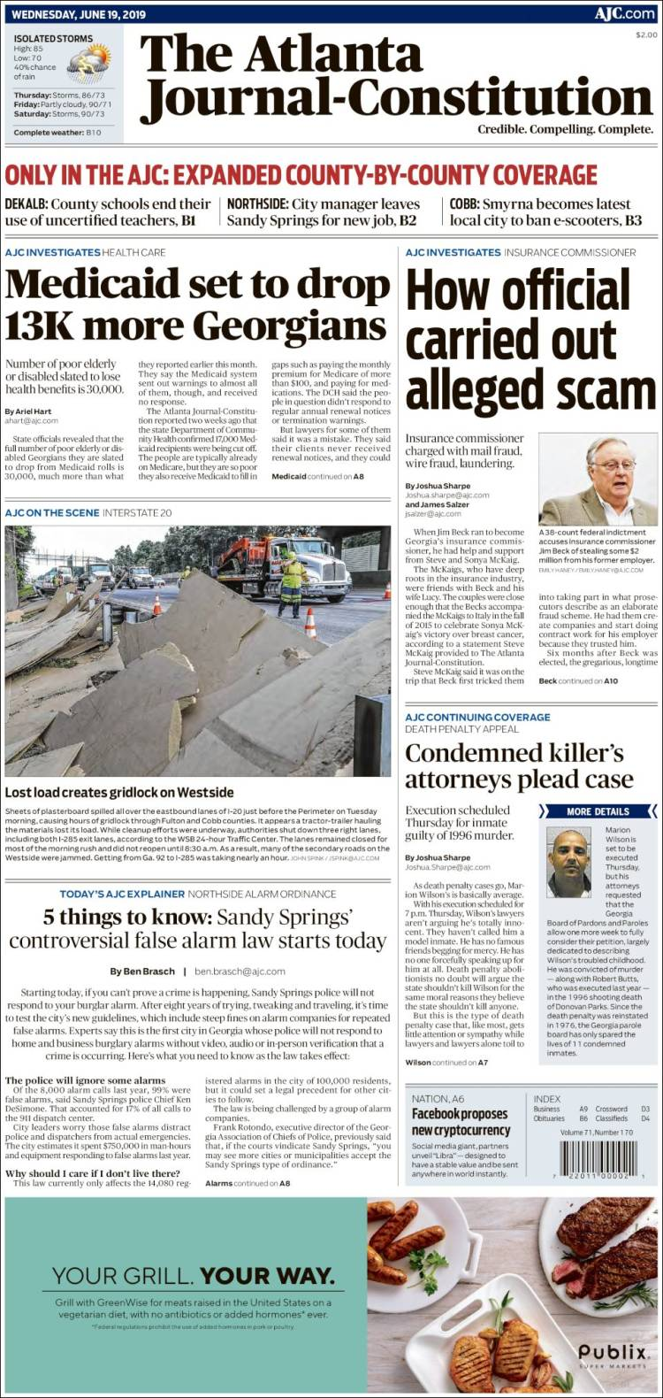 Portada de The Atlanta Journal-Constitution (États-Unis)