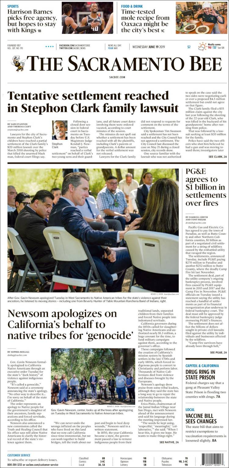 Portada de The Sacramento Bee (États-Unis)