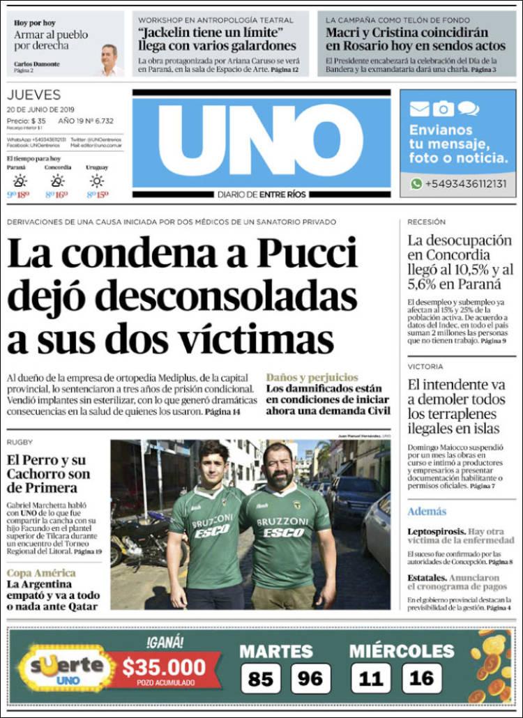 Portada de Diario Uno de Entre Ríos (Argentine)
