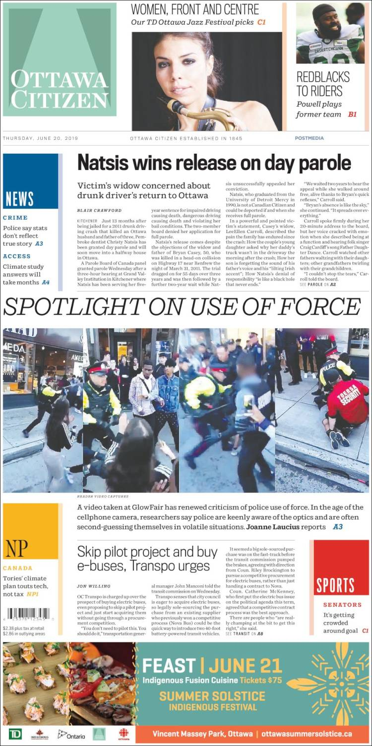 Newspaper Ottawa Citizen (Canada)  Newspapers in Canada  Thursday's