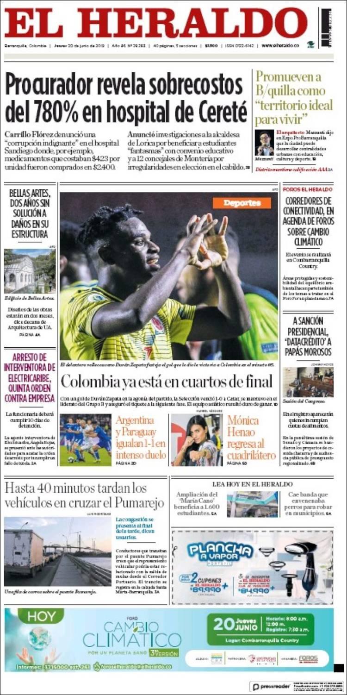 Portada de El Heraldo (Colombie)