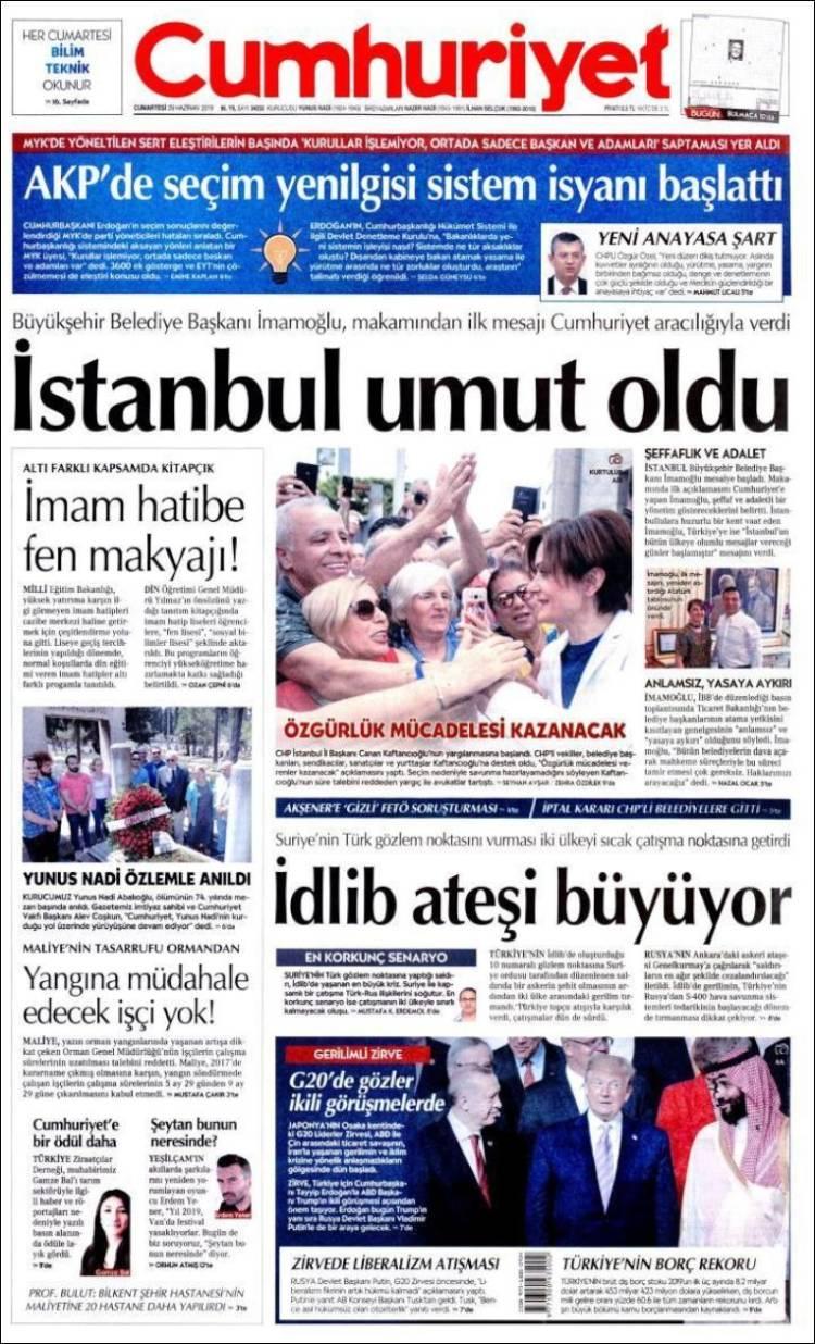 Portada de Cumhuriyet (Turquía)